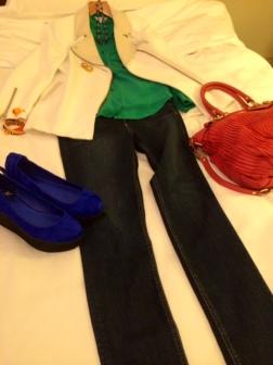 Jacket: Sandro Shirt: & Other Stories Jeans: Rag & Bone Shoes: Topshop Bag: Coach