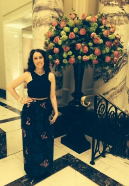 Enjoying the roses in the lobby at 'The Langham'.