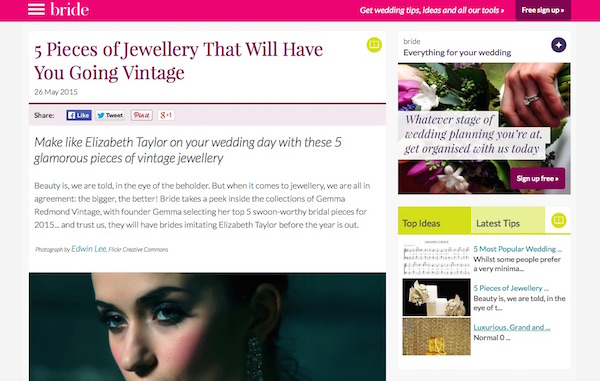 The Wedding Site - Five Favourite Pieces Article