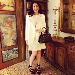 Dress: 1960s, Susan Hayward Vintage Earrings: Mitchel Maer for Christian Dior, 1950s, Gemma Redmond Vintage Shoes: Topshop Jacket: Sandro Bag: Balenciaga