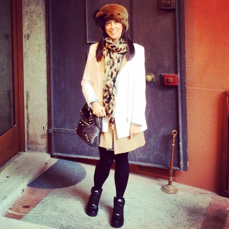 Dress: Levis Jacket: MaxMara Hat: Oberwalder and Co Parure: Renoir Matisse, 1960s, Gemma Redmond Vintage Jacket: Sandro Sneakers: Nike Bag: Balenciaga Scarf: Maxmara